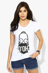 Simpsons D'OH! In Mouth White T-Shirt for Women