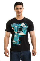 Family Guy Peter In Big P Black T-Shirt for Men