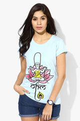 Simpsons Sitting on Lotus Ohm Light Blue T-Shirt for Women