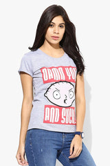 Family Guy Stewie Face Damn You And Suck! Grey T-Shirt for Women