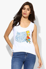 Simpsons Thank You God For The Bad Things White Tank for Women