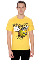 Kritzels Bee Funny… Yellow T-Shirt for Men