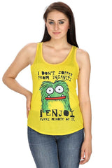 Kritzels I Don't Suffer From Insanity Yellow Tank for Women