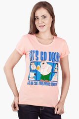 Family Guy Let's Go Drink Till We Can't Feel Feeling Anymore! Peach T-Shirt for Women