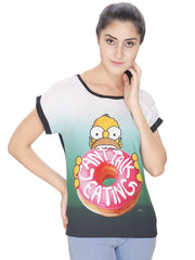 Simpsons Can't Talk Eating Multi Color T-Shirt for Women