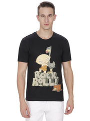 Family Guy Stewie Rock Roll! Black T-Shirt for Men