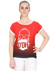 Simpsons Shaded DO'H White and Red T-Shirt for Women