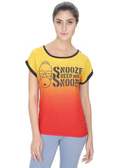 Simpsons Snooze Need More Snooze Multi Color T-Shirt for Women