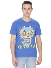 Family Guy Stewie Obey Me Royal Blue T-Shirt for Men