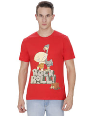 Family Guy Stewie Rock Roll! Red T-Shirt for Men