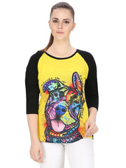 Muse Dog Sniffing Colors Multi Color Raglan for Women