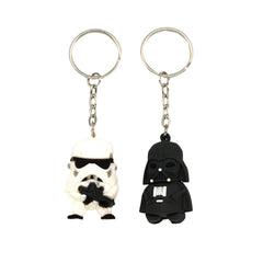 Storm Trooper & Dart Vedar Set of 2 Black and White Rubber Keychain
