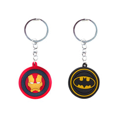 Batman & Ironman Set of 2 Black and Red Rubber Keychain