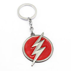 The Flash Lightning Logo Red and Silver Metal Keychain