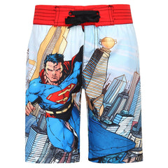Comic Superman Flying in City Multi Shorts for Kids