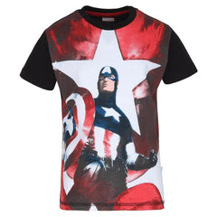 Captain America Painting Multi Color T-Shirt for Kids