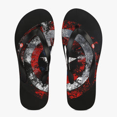 Captain America Faded Shield Black Flip Flops for Men and Women