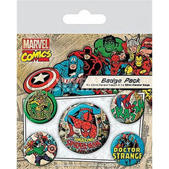 Comic Retro Spider-Man Set of 5 Badges