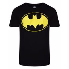 Batman Yellow Logo on Chest Black T-Shirt for Men