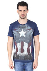 Captain America Armour Suit Navy Blue T-Shirt for Men