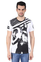 Captain America with Shield Looking Up White T-Shirt for Men