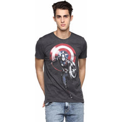 Captain America Running with Shield Dark Grey T-Shirt for Men