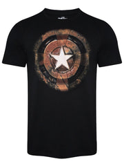 Captain America Shield Rusted Black T-Shirt for Men