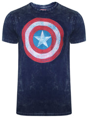Captain America Logo with Acid Wash Navy Blue T-Shirt for Men