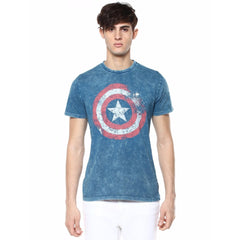 Captain America Logo Fading Blue T-Shirt for Men