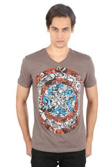 Captain America Shades on Shield Brown T-Shirt for Men