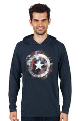 Captain America Faded Shield Navy Blue Hoodie for Men