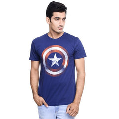 Captain America Shield Logo Fading Dark Blue T-Shirt for Men