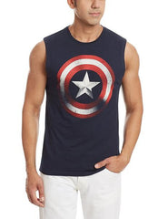Captain America Shield in Red Navy Sleeveless T-Shirt for Men