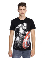 Comic Captain America with Color Shield Black T-Shirt for Men