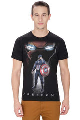 Civil War Captain America & Ironman Freedom Black T-Shirt for Men