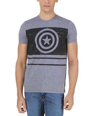 Captain America Black Flag Logo Grey T-Shirt for Men
