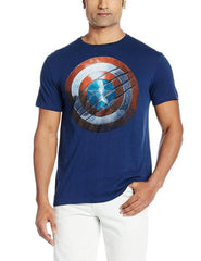 Captain America Shield Scratched Dark Blue T-Shirt for Men