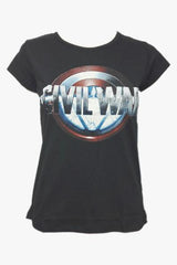 Civil War Captain America Shield Arc Reactor Black Tee for Women