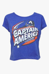 Civil War Captain America Logo Brooklyn New York Blue Tee for Women