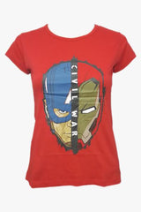 Civil War Captain America and Ironman Half Face Red Tee for Women