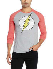 Flash Logo Light Grey and Red Raglan T-Shirt for Men