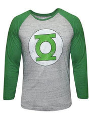 Green Lantern Logo Light Grey and Green Raglan T-Shirt for Men