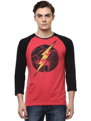 Flash Logo in Front and The Flash on Back Red Raglan T-Shirt for Men