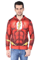 Flash Logo with Muscles and Bolt Red Hoodie for Men