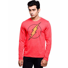 Flash Logo on Chest Red T-Shirt for Men