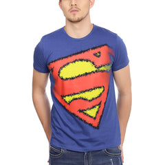 Superman Brushed Logo Blue T-Shirt for Men