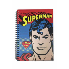 Superman Comic Logo with Face Spiral Bound Hard Cover A5 Notebook - Multicolor