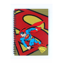 Superman Hitting in Polka Dots Spiral Bound Hard Cover A5 Notebook - Multicolor