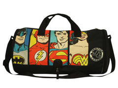 Comic Justice League 4 Super Heroes with Logo Duffel Bag - Black