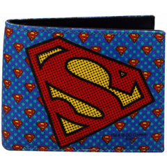 Superman Logos Canvas and Leather Wallet for Men and Women - Blue